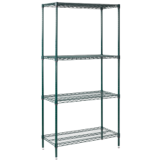 Stationary Green NSF Wire Shelving